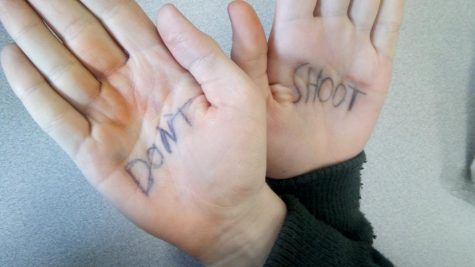 Jaden Cumpston's hands on March 14th, 2018, after he participated in the National School Walkout to protest gun violence.