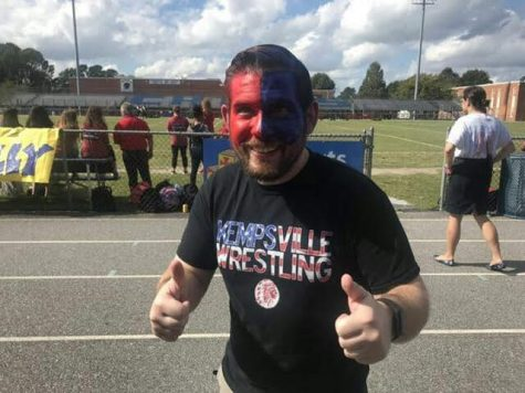 English teacher Mr. Mosley at the 2018 Homecoming Pep Rally on October 15.