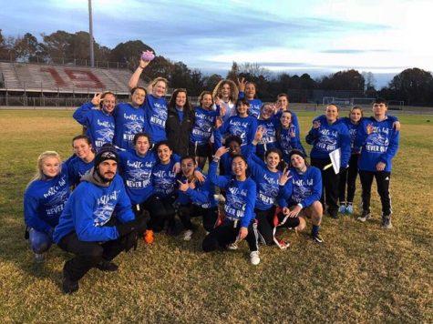 The Senior class team in Powderpuff 2018.