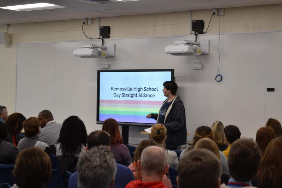 James Hanan, co-president of Kempsville High School's GSA, as he presents in front of faculty and teachers on January 7th, 2019.