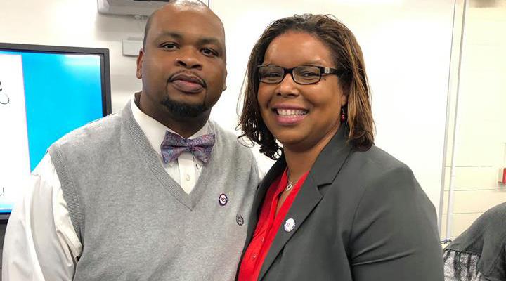 Coach Cherry with his wife, Ebony Cherry.