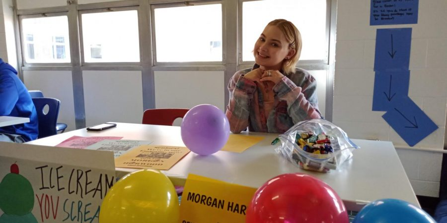 Morgan+Harwood%2C+junior%2C+at+her+table+during+the+Meet+the+Candidates+event+on+Friday%2C+March+22%2C+2019.+Harwood+is+running+for+senior+class+president.+