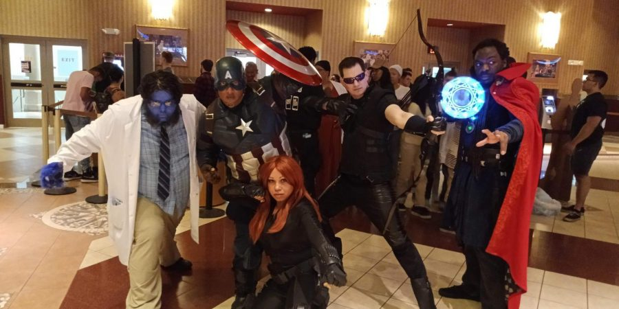 Cosplayers+at+screenings+of+Avengers%3A+Endgame+at+Cinemark+18+on+April+25%2C+2019.+The+cosplayers%2C+representing+the+original+Avengers+cast%2C+are+apart+of+East+Coast+Alliance+of+Cosplayers%2C+a+non-profit+organization%2C+and+were+taking+pictures+with+fans.+
