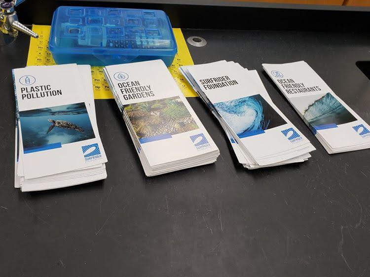 Pamphlets Ms. Therese Whitehurst, a Chemistry teacher who started the Surfrider Foundation at Kempsville handed out on September 13 to educate students about the use of plastic and protecting the environment.