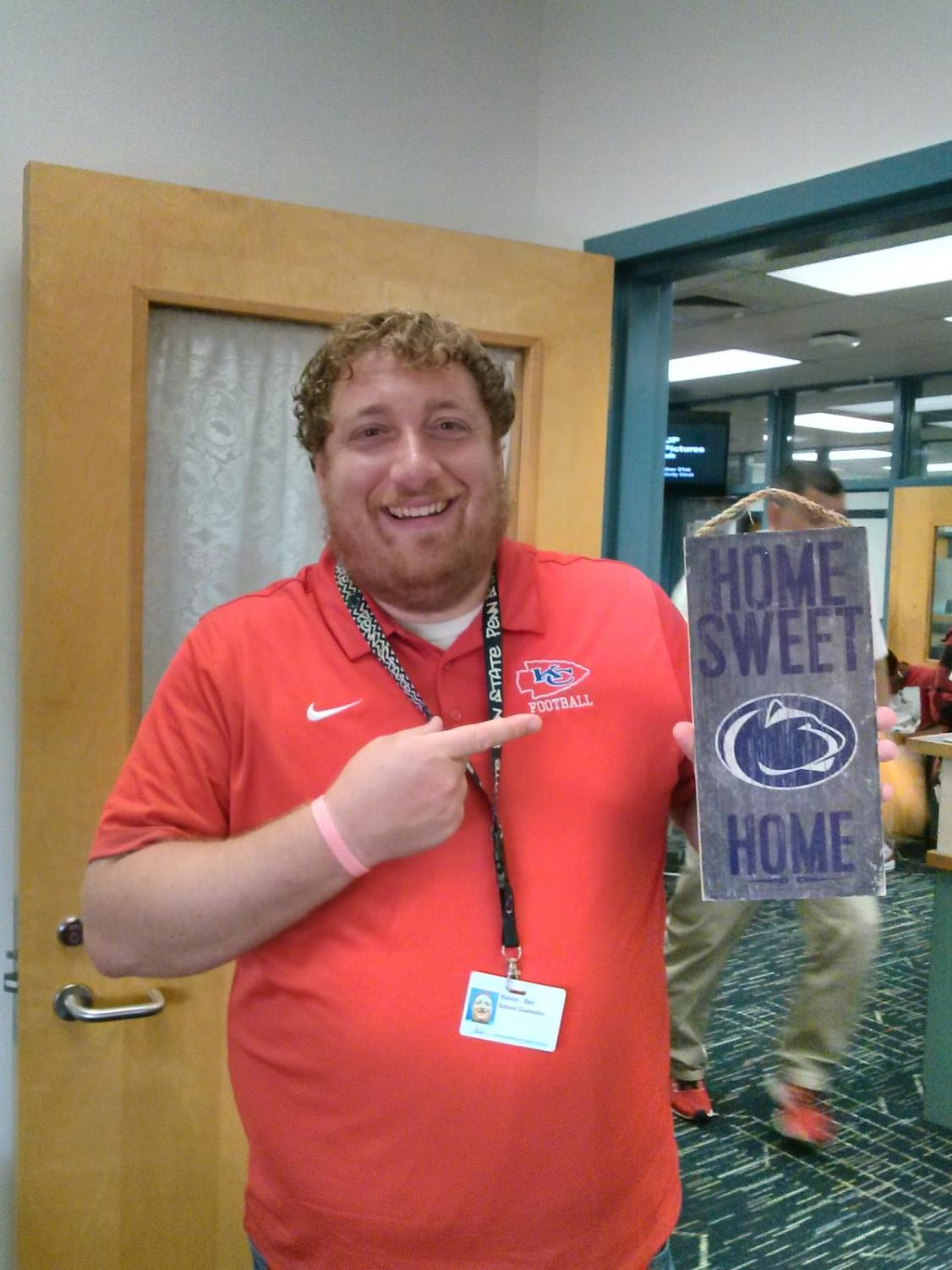 """Go to class!"" Ber warns as he shares his tips for college with students. Kevin Ber,  who went to Penn State, was inspired to become a school counselor through his own experience of not having many resources to help with college prep."