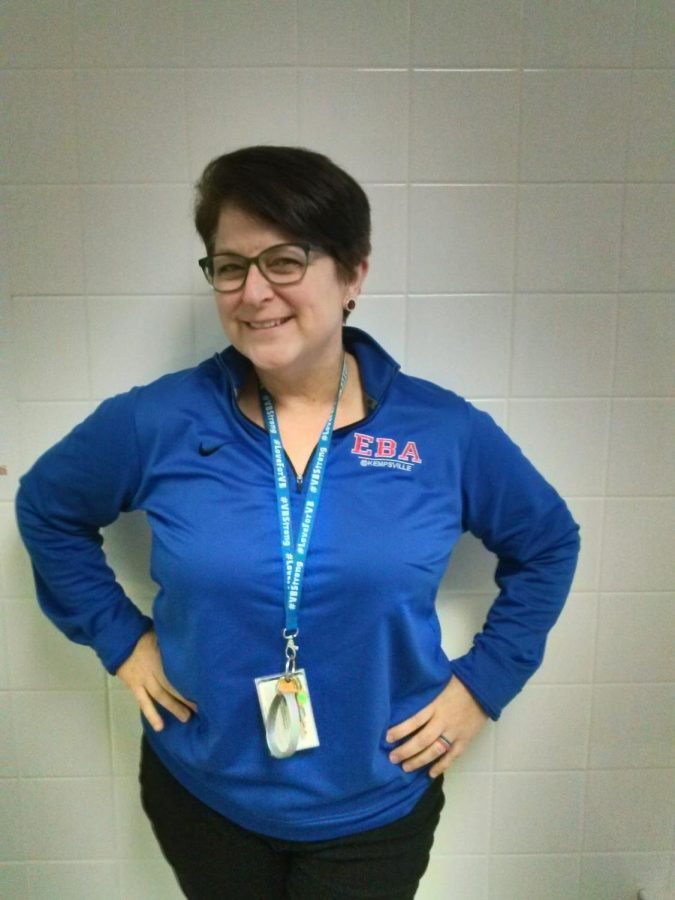 """English teacher and Advisory Lead Mary Boubouheropoulos' goal with Monday Morning Meetings is to """"build relationships one Monday at a time."""" Ms. Boubouheropoulos worked alongside Ms. Bailey and Ms. George to help bring the concept of Monday Morning Meetings from elementary schools to Kempsville."""