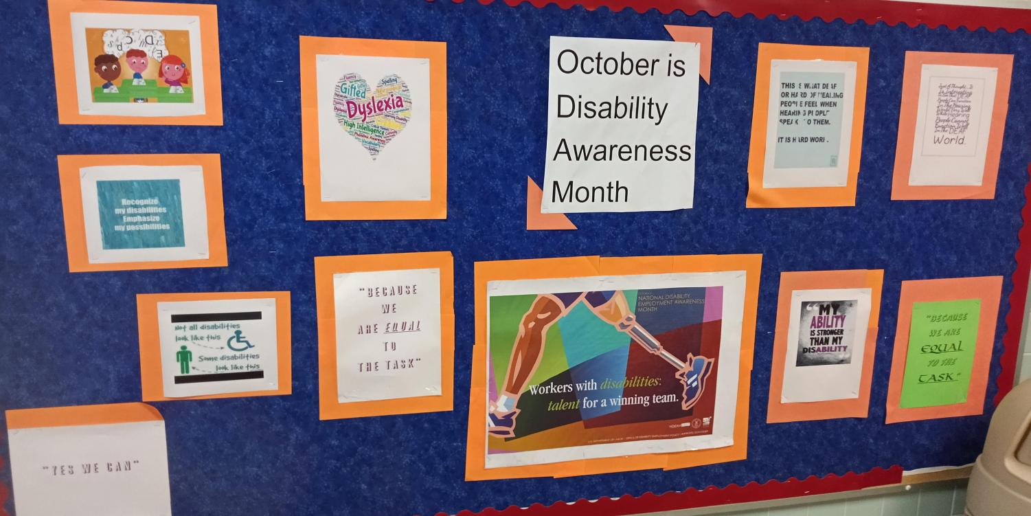 The bulletin board put up by JoAnn Bennett-Worthy, TA, for Disability History and Awareness Month.