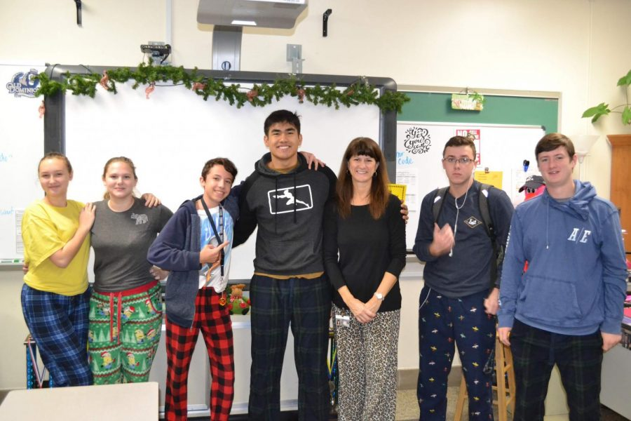 Students in Ms. Manosos 1A Economics class who are dressed up for Pajama Pants Monday.