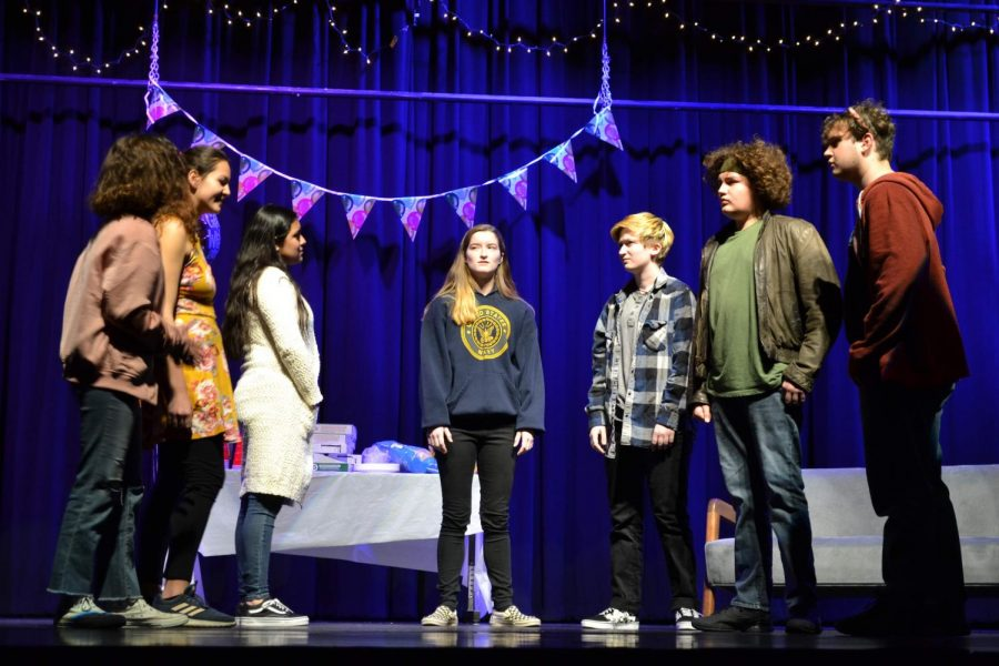 In the center stands Jennie Touchton, sophomore, who played Jo. She is surrounded by her emotions, in what started as a party, as the separate sides try to convince her whether or not to commit suicide. Chavito Allen, who played hope, is missing from the scene.