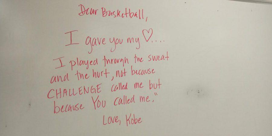 Lines+from+Kobe+Bryant%27s+%22Dear+Basketball%22+on+the+back+whiteboard+of+AP+Literature+teacher+Mrs.+Charlotte+Jenkins.
