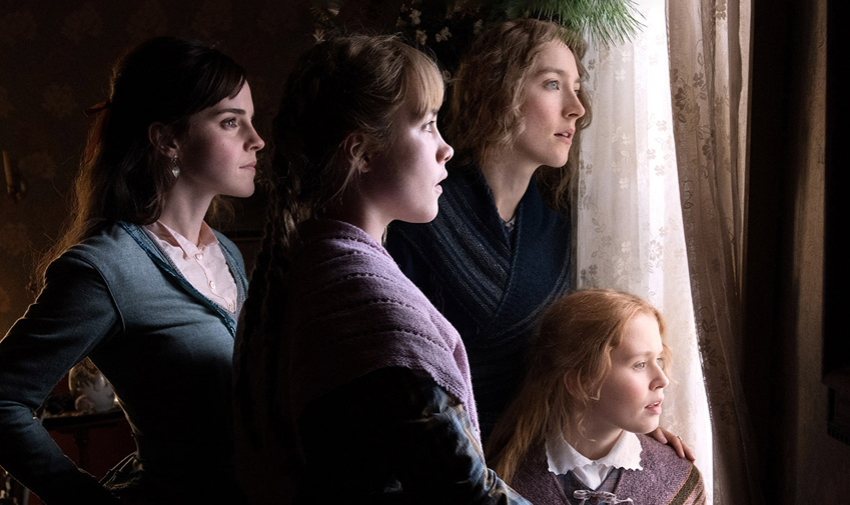 """The """"little women"""" in Little Women: Jo and her sisters. Photo credit attributed to Sony."""