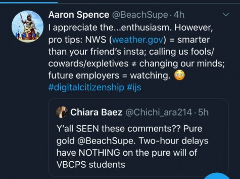 Superintendent Spence's quote of a Tallwood sophomore's Tweet concerning the amount of replies on @vbschool's Twitter announcement about the 2 hour delay on Friday, February 21.