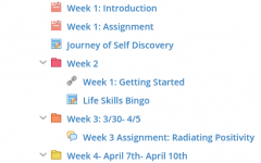 A screenshot showing the work assigned by Guckert. Each assignment is a mix of English and life skills.