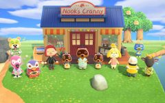 "My character and my residents celebrating the opening of our shop, ""Nook's Cranny."""