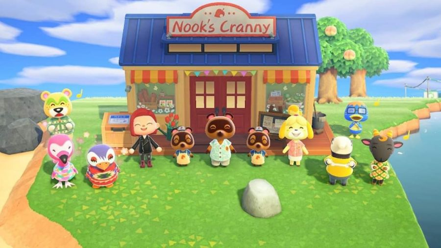 """My character and my residents celebrating the opening of our shop, """"Nook's Cranny."""""""
