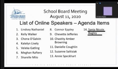 Sania Nicole Bagley speaking about racial issues and the equity policy via Google Zoom during the School Board Meeting held on August 11, 2020.